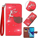 Leecase Bling Diamond Sparkle Glitter 3D PU Leather Bookstyle Magnetic Closure Wallet Flip Cover Creative Lovely Cute Fairy Rhinestone Leaf Pattern for Samsung Galaxy J1 Ace-Red