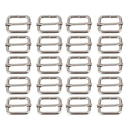 LEORX Metal Sliding Bar Tri-glides Wire-formed Roller Pin Buckles Slider Strap Adjuster 25mm Pack of 20