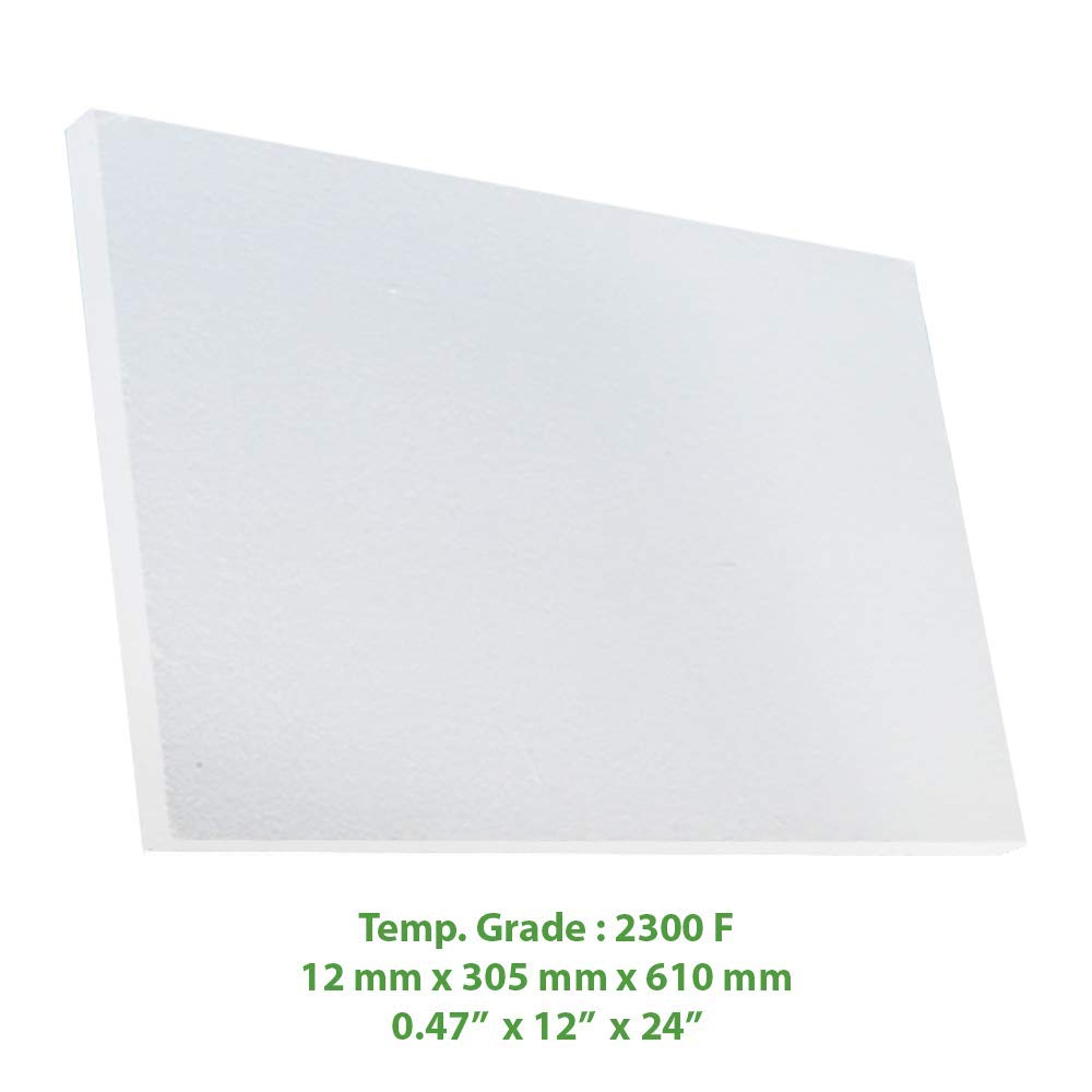 Ceramic Fiber Insulation Board 2300 F 0.47'' X 12'' X 24'' for Thermal Insulation in Wood Stoves, Fireplaces, Pizza Ovens, Kilns, Forges & More. by Simond