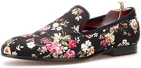 369a650fb58ee HI&HANN Flower Printing Men Canvas Shoes Slip-on Loafer Round Toes Smoking  Slipper
