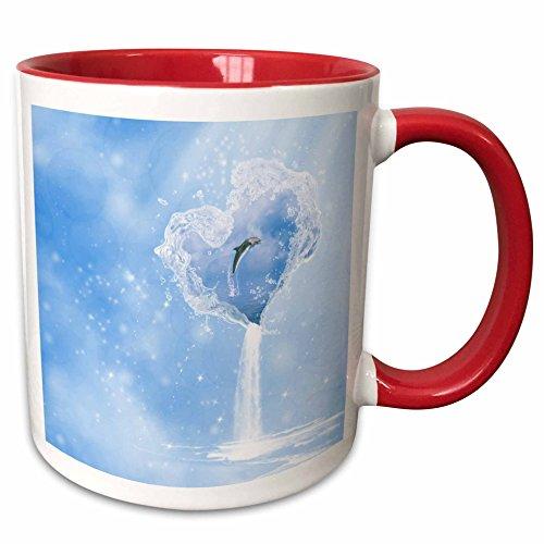 Waterfall Dolphin (3dRose Simone Gatterwe Designs Sea Life - Heart ocean waterfall dolphin blue fantasy - 15oz Two-Tone Red Mug (mug_172223_10))