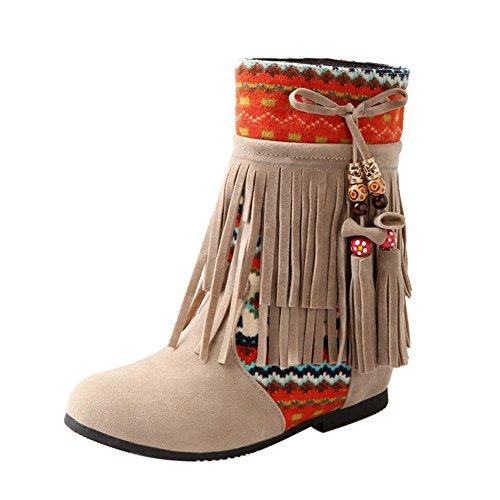 Frestepvie Women's Boots Ladies Warmers Bohemian Tassel Tibet Style Vintage Flat Winter Warm Ankle Shoes Beige b4WRXEfW