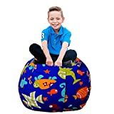 Uozzi Bedding Stuffed Animal & Toys Storage Bean Bag Pouf - Perfect Organization for Extra Toys, Blanket, Towels, clothes, Pillows - Premium Quality Cotton Canvas(Blue, 26'')