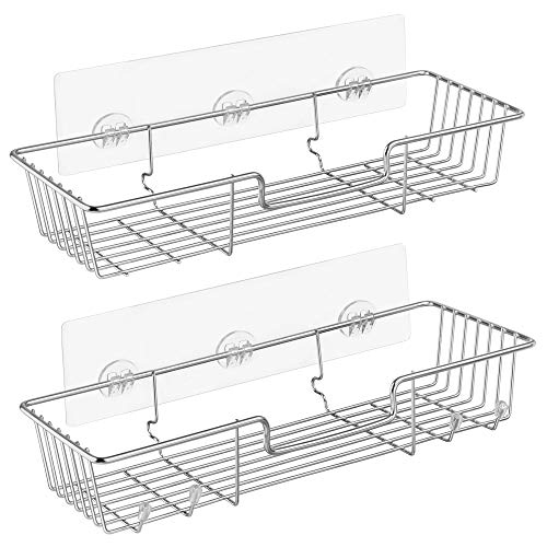 iPEGTOP Adhesive Shower Caddy Bathroom Shelf Storage with Hooks for Shampoo Conditioner Holder Kitchen Organizer Basket, No Drilling Wall Mounted, Rustproof Stainless Steel, 2 Pack