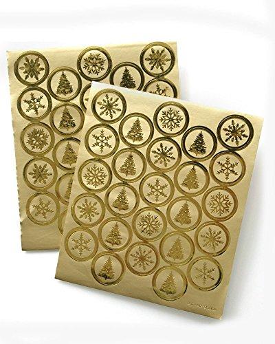 (Gartner Studios Gold Foil Holiday Envelope Seals, 50 count)