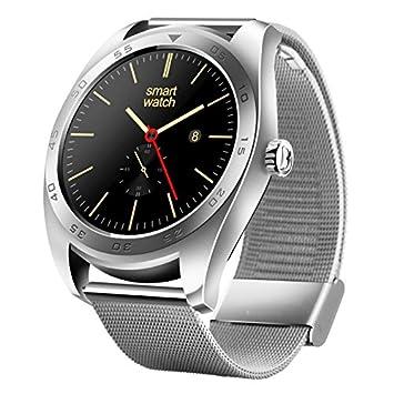 Montre connectée Argent Classique Design Métal Bande Bluetooth 4.0 Fréquence Cardiaque Smart Watch, Podomètre/