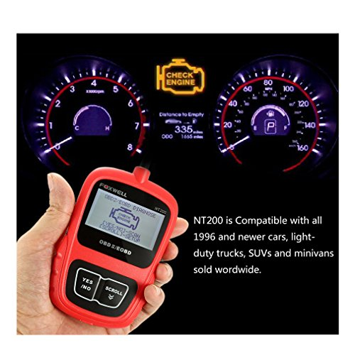 Automotive OBD II Scanner FOXWELL NT200 Obd2 Fault Code Reader Turn off Engine Light Check Engine Trouble Codes Diagnostic Scan Tools Update Online (Red)
