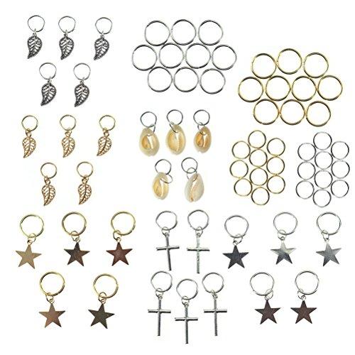 75 PCS 5 styles Hair Braid Rings Hair Loops Clips Braid Hair Clip Accessories, Shell/Star/Leaves/Cross/Ring, 2 Colors (Gold & Silver) -