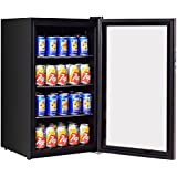 Costway 120 Can Beverage Refrigerator Beer Wine Soda Drink Beverage Cooler Mini Fridge