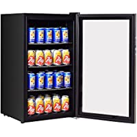 Costway 120 Can Beverage Refrigerator Beer Wine Soda Drink Beverage Cooler Mini Fridge (Black)