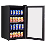 Appliances : Costway 120 Can Beverage Refrigerator Beer Wine Soda Drink Beverage Cooler Mini Fridge (Black)
