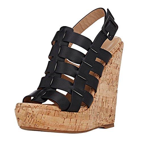 VOCOSI Women's CS-030 Wedges Heels,Weaving Cut-outs High ...