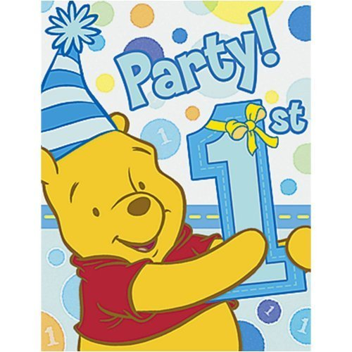Pooh's 1st Birthday Boy Invitations 8ct
