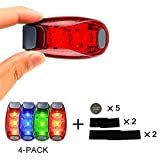 Walking Safety Light, LED Runner Safety Light 4 PACK, Running Flasher for Morning Run, Safety Flashing Lights for Bicycle, Great Lights for Running at Night, by iThink Space【Red, Blue, Green】