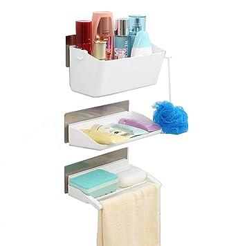 Adoraland Etagere De Rangement Salle De Bain Mural Sans Percage Organisateur Serviteur De Douche Adhesif Porte Savon Accessoire Plastique Blanc