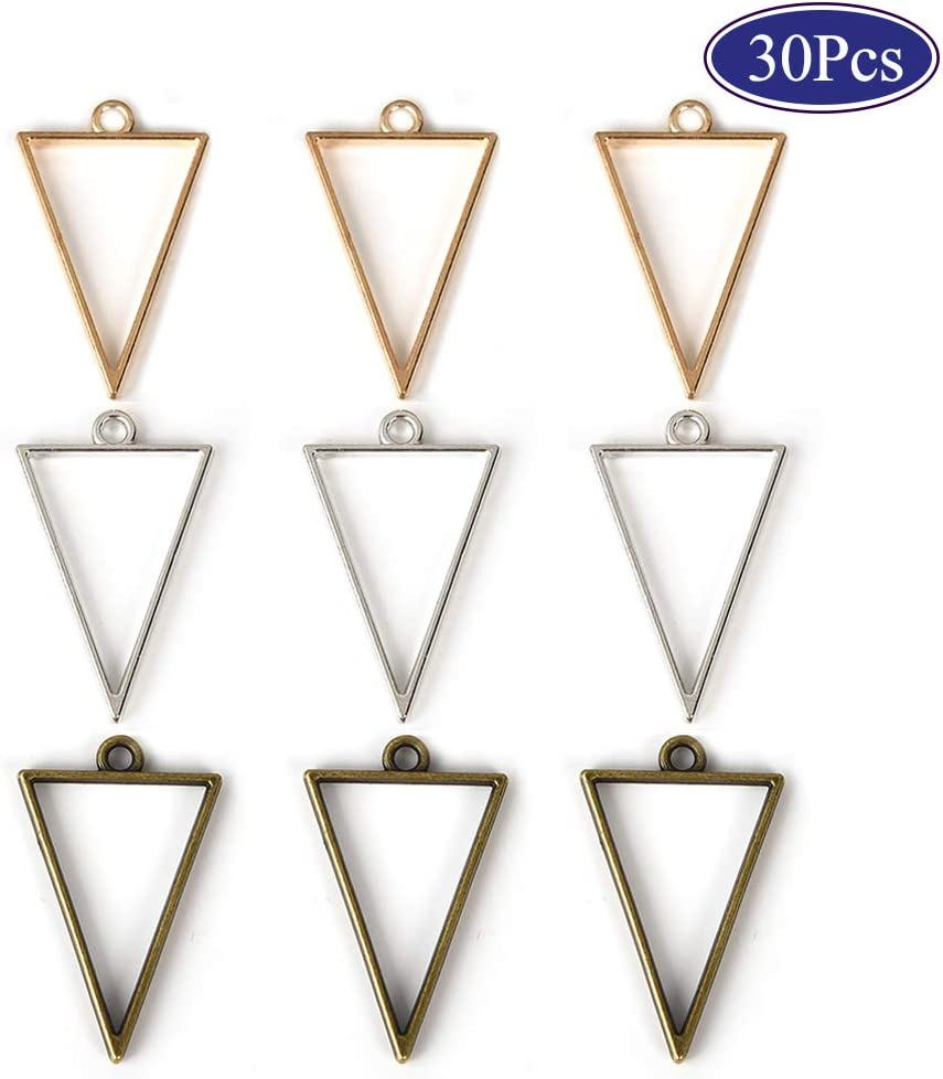 Ancient Cyan 10PCS Frame Pendants Bezel Charms Pendants Open Back Bezel Pendants Hollow Mold Geometric Pressed Flower Frame Pendant DIY Crafts for Resin Earrings Necklace Bracelet
