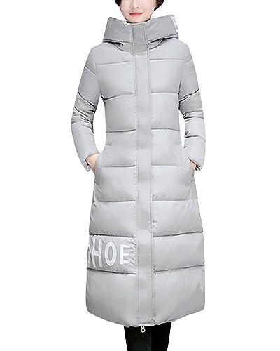Mujer Abrigos Con Capucha Calor Chaqueta Larga Cazadoras De Invierno Gris XL