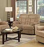 Container Furniture Direct S6036-L Albert Velvet Upholstered Gliding Reclining Loveseat Mocha