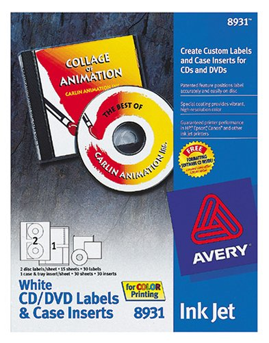 amazon com avery 8931 inkjet labels cd and dvd with case inserts
