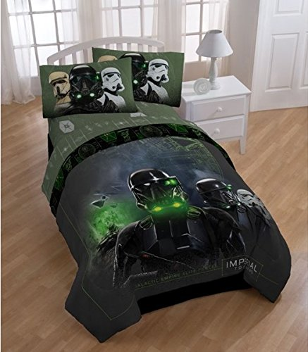 5 Piece Kids Star Wars Rogue One Movie Themed Comforter Twin Set, All Over Galaxy Imperial Trooper Dark Background Radar Pattern, Aliens galactic ships Reversible Bedding, Black Green Grey, For Unisex