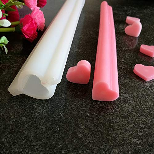 (EORTA Heart Shaped Silicone Mold Tube Column Mold Handmade Soap Mold Candle Mold Chocolate/Cake/Mousse/Loaf Baking Tools for DIY Craft Dessert Clay Party Decoration, White)
