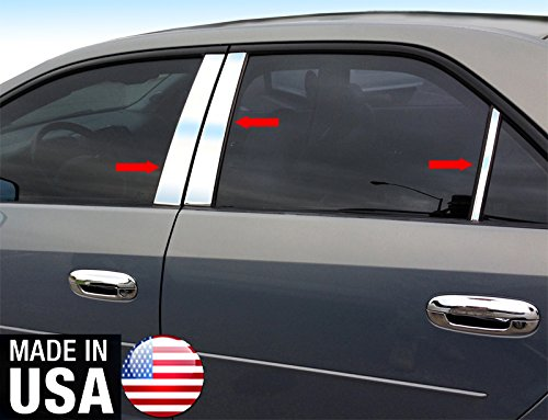 Made in USA! Works with 2002-2007 Cadillac CTS 6PC Stainless Steel Chrome Pillar Post Trim ()