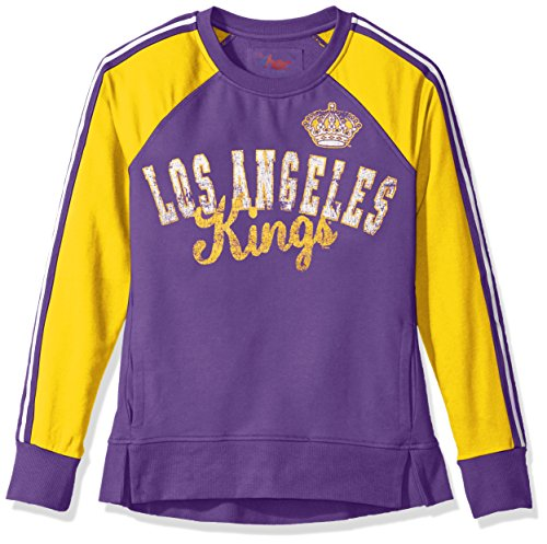 GIII For Her NHL Los Angeles Kings Women's Perfect Pitch Pullover Crewneck Jacket, X-Large, Purple/Gold