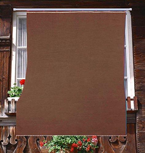 Tenda da Sole da Esterno per Balcone in Tessuto Resistente Misura cm 140x250 in 100% Poliestere con Anelli Dis. 5 MARRONE Tata Home
