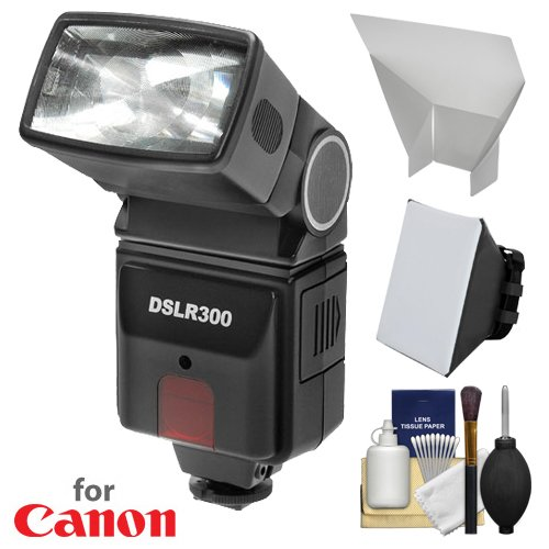 Precision Camera Flash - Precision Design DSLR300 High Power Auto Flash with Softbox + Bounce Diffuser Kit for Canon EOS 6D, 70D, 7D Mark II, Rebel T3, T3i, T5, T5i, T6i, T6s, SL1 DSLR Cameras