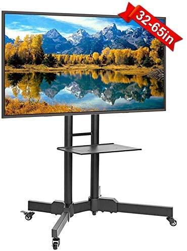 ABCCANOPY Mobile TV Stands for Flat Screens Rolling TV Cart with Wheels and Adjustable Shelf for 32-65 Inch LED LCD OLED Flat Screen, Plasma TVs TV Monitors