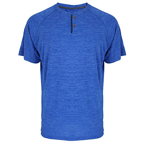 Henley Shirts for Men Short Sleeve Soft Quick Dry Workwear Button Neck Collar Slim Fitted Casual Basic T Top Royal Blue M]()