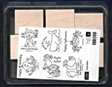 Rubber Stamp Frames New KIDOODLES ELF Monkey Spider Rhino 6 pc Set Wood Rubber Stamp