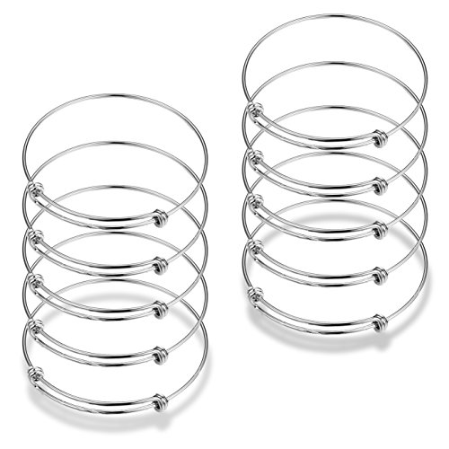 Zstyle 10 Pcs Adjustable Wire Blank Bangle Bracelet for Womens DIY Jewelry Making,2.4 inch,Rhodium Plated for $<!--$8.99-->