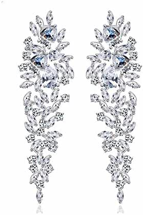 GULICX Shinning Zircon Art Deco Leaf Drop Chandelier Dangle Earrings Bride Silver Plated Base
