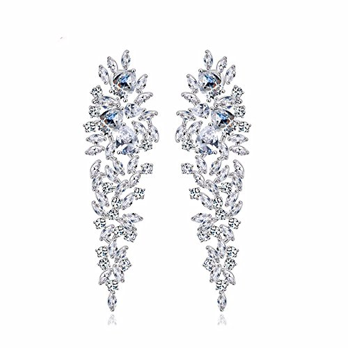 Dangling Chandelier Earrings (GULICX Shinning Zircon Art Deco Leaf Drop Chandelier Dangle Earrings Bride Silver Plated Base)