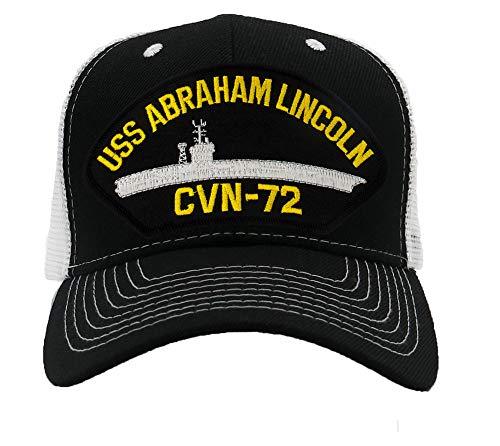 Patchtown USS Abraham Lincoln CVN-72 Hat/Ballcap Adjustable One Size Fits Most (Mesh-Back Black & White, Standard (No Flag))