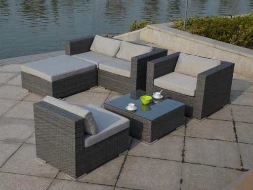 rattan gartenm bel grau. Black Bedroom Furniture Sets. Home Design Ideas