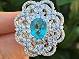 Paraiba Tourmaline Dimond Ring Large 5.37 cttw GIA Certified Neon Pool Blue Color 18k White Gold Size 7