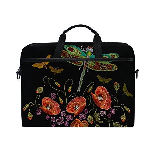 JSTEL Beautiful Dragonfly And Flowers Laptop Shoulder Messenger Bag Case Sleeve for 14 inch to 15.6 inch with adjustable Notebook Shoulder Strap Laptop Insert Sleeve Bag