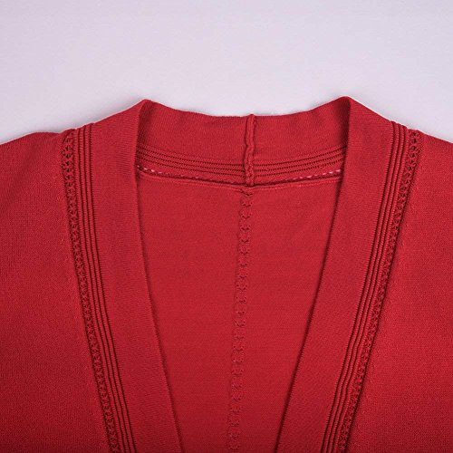 Donna Maglia Grazioso Rot Moda Maniche Corto Primaverile Giacca Autunno Libero Monocromo Giacche Stlie Giubbino Eleganti Tempo A Camicetta Lunghe Cardigan BnSxdqRd
