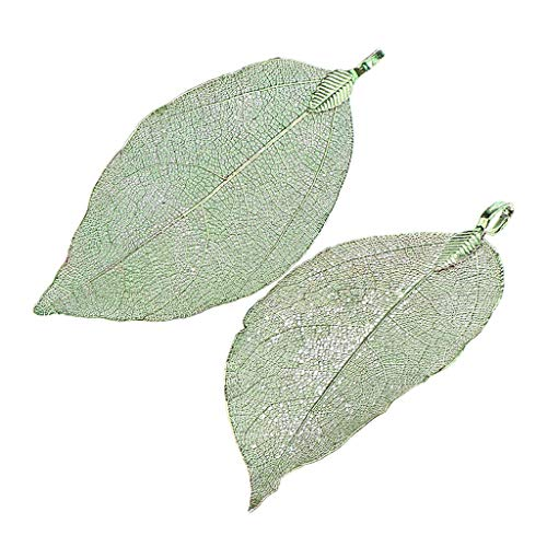 - 2pcs Handmade Real Leaf Electroplated Finished Copper Filigree Leaf Pendant Necklace Jewelry Crafting Key Chain Bracelet Pendants Accessories Best| Color - Green