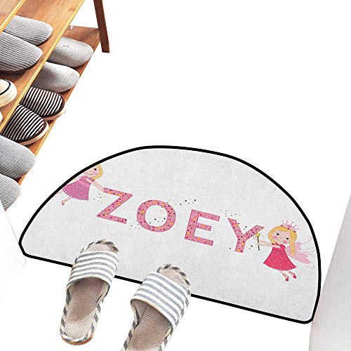Entrance Door mat Zoey Feminine Themed Baby Girl Name Magic Creatures Calligraphic Alphabet Letter Design Breathability W30 xL18 Multicolor