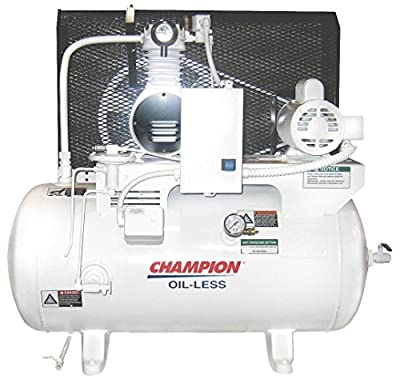 Champion Spark Plugs - CHSMOA16-3 Phase - Electrical Horizontal Tank Mounted 1.00HP - Air Compressor Stationary Air Compressor, 30 g from CHAMPION