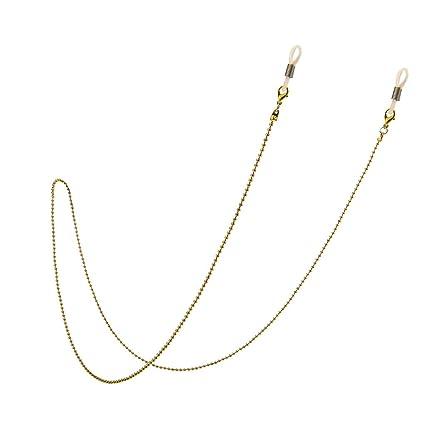 MagiDeal Gafas de Sol con Cuentas Gafas Sujetador Vasos Cadena de Cuerda de Cordón - Oro