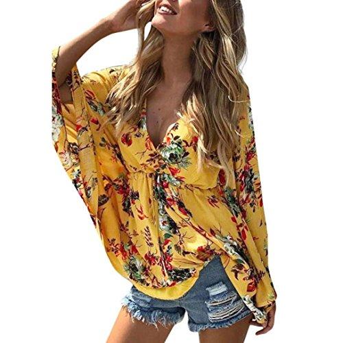 (Bafaretk Womens Boho Floral Batwing Sleeve Blouse Hight Waist Lace up Shirt Tunic Tops (L, Yellow))