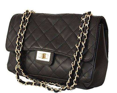 Sa-Lucca echt Leder Handtasche gesteppt mit Ketten Damentasche Ledertasche Schultertasche schwarz MADE IN ITALY MhVD7wQ