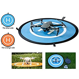 Qubuy Drones Landing Pad, Drone and Quadcopter 30''/75cm Universal Portable Foldable Waterproof RC Soft Helipad for DJI Phantom 2/3/4/Pro, Inspire 1/2,Mavic AIR/2 Pro/2 Zoom/Pro & More