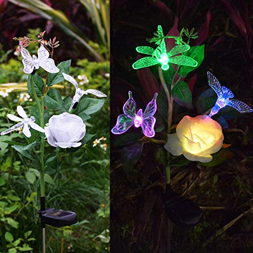 (Abkshine Solar Outdoor Garden Decorative Lights, All-in-1 Color Changing Hummingbird Butterfly Dragonfly Rose Stake Lights for Summer Yard Grave Flower Bed)