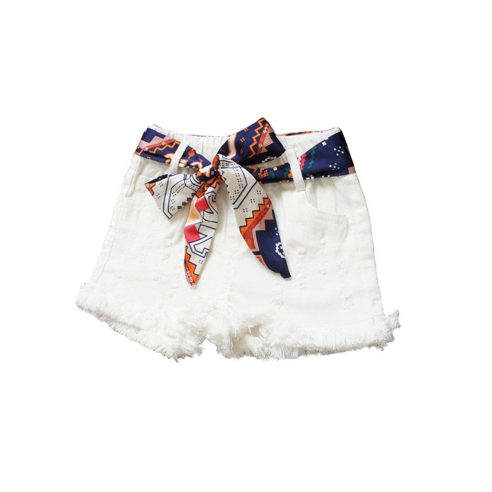 CosSky Girls Denim Shorts Fashion for Little Big Girls (4t, White)