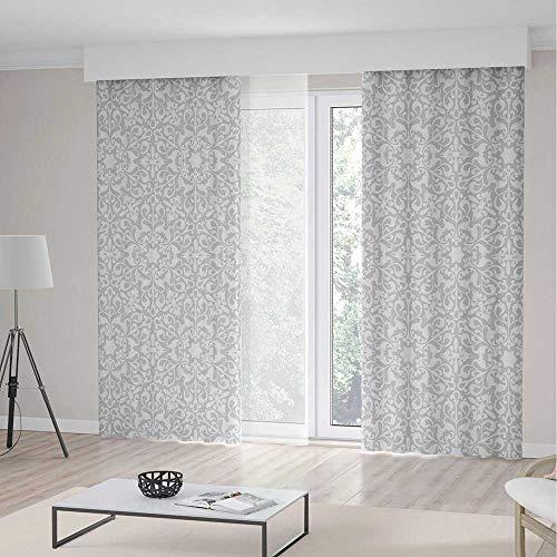 Islamic Antique (iPrint Grey Long Curtains,Antique Floral Motifs Arabian Islamic Art Patterns in Mod Graphic Design Oriental Boho Deco,Living Room Bedroom Curtain 2 Panels Set,104 W 84 L,Gray)